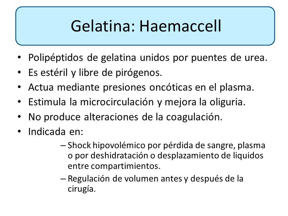 Polipéptidos de gelatina unidos por puentes de urea. Es estéril y libre de pirógenos. Actua mediante presiones oncóticas en el plasma. Estimula la mic