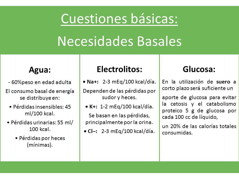 Cuestiones básicas: Necesidades Basales Agua: - 60%peso en edad adulta El consumo basal de energía se distribuye en: Pérdidas insensibles: 45 ml/100 k