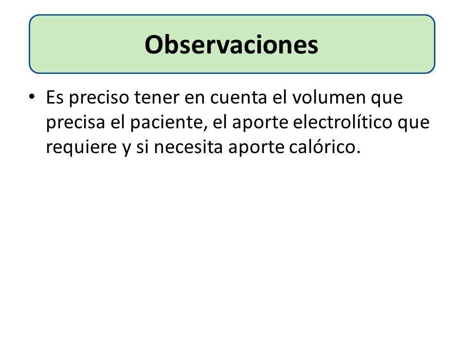 Es preciso tener en cuenta el volumen que precisa el paciente, el aporte electrolítico que requiere y si necesita aporte calórico. Observaciones