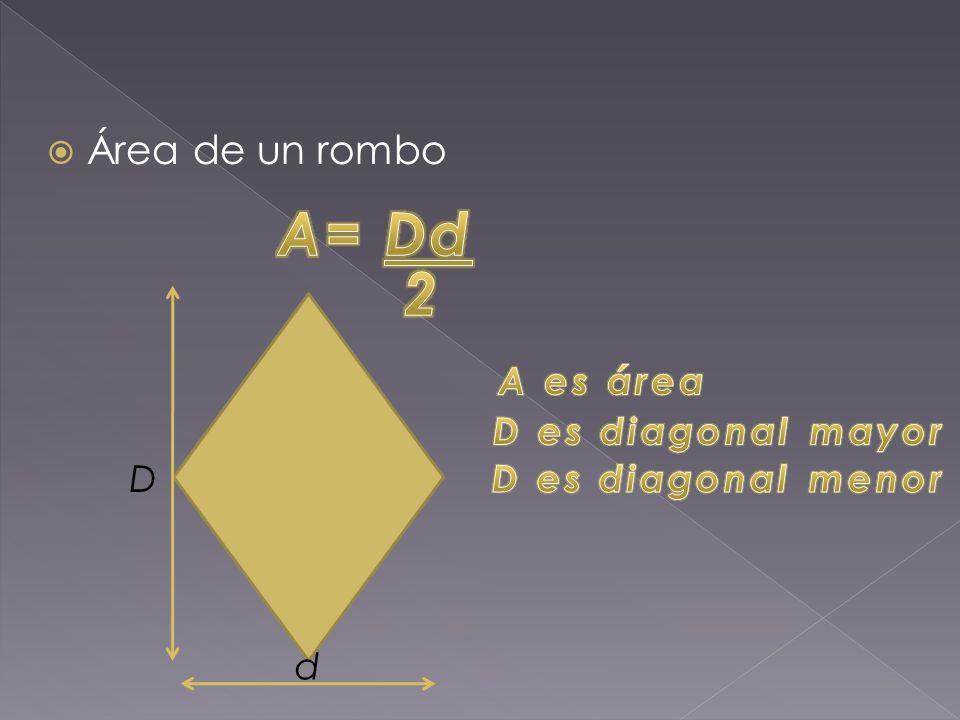  Área de un rombo D d