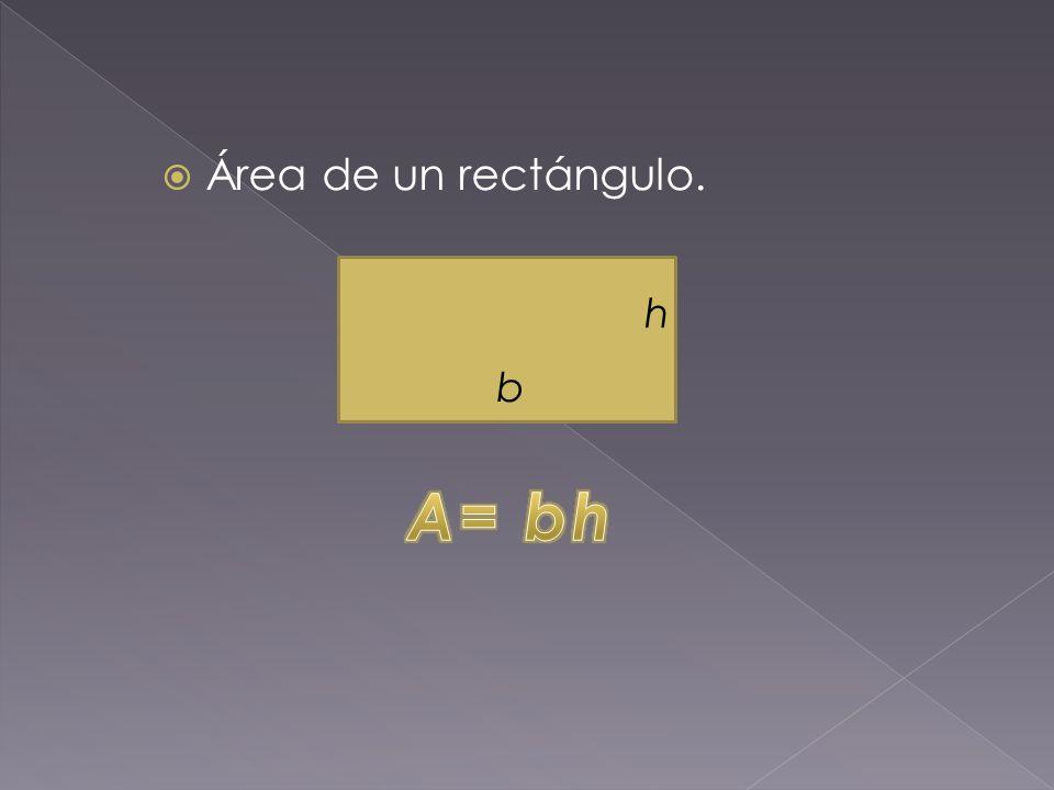  Área de un rectángulo. h b