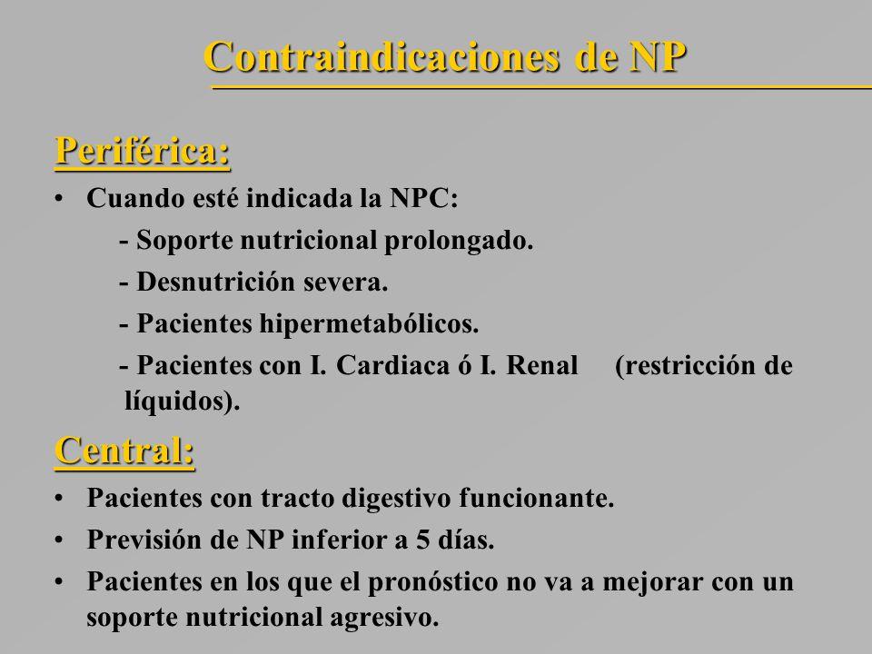 Contraindicaciones de NP Periférica: Cuando esté indicada la NPC: - Soporte nutricional prolongado.