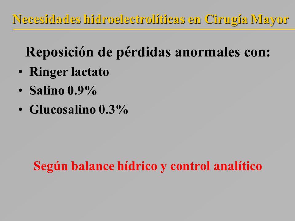 Necesidades hidroelectrolíticas en Cirugía Mayor Reposición de pérdidas anormales con: Ringer lactato Salino 0.9% Glucosalino 0.3% Según balance hídrico y control analítico
