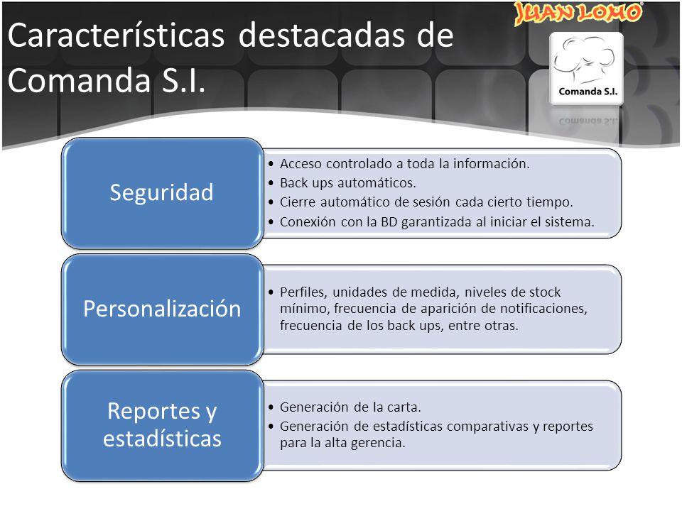 Características destacadas de Comanda S.I. Acceso controlado a toda la información.