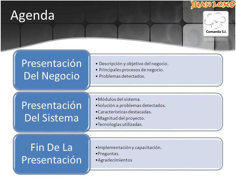 Agenda Descripción y objetivo del negocio.Principales procesos de negocio.