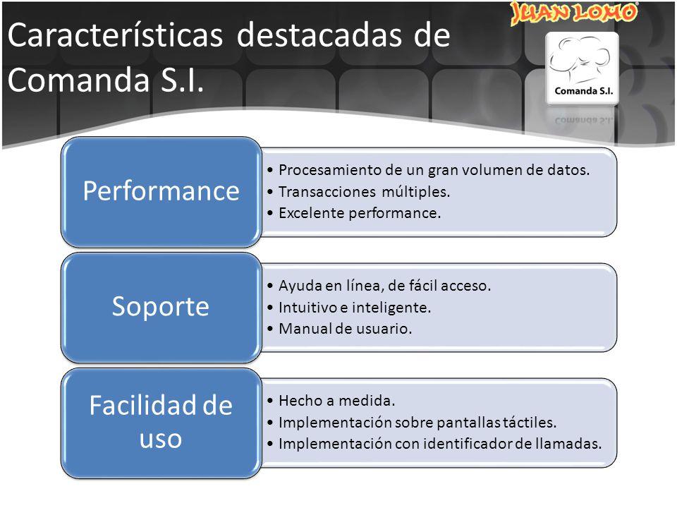 Características destacadas de Comanda S.I. Procesamiento de un gran volumen de datos.