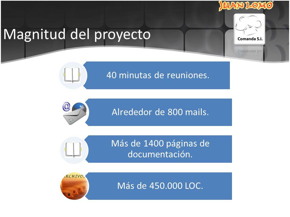 Magnitud del proyecto 40 minutas de reuniones. Alrededor de 800 mails.