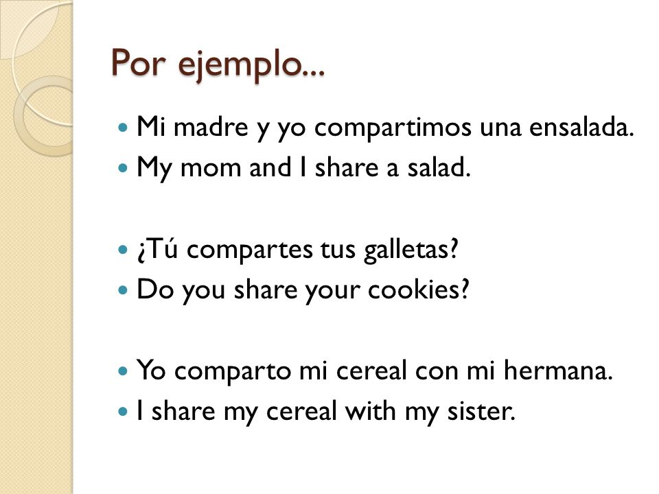 Now, write out the full conjugation of the verb COMPARTIR. Include subject pronouns and translations.