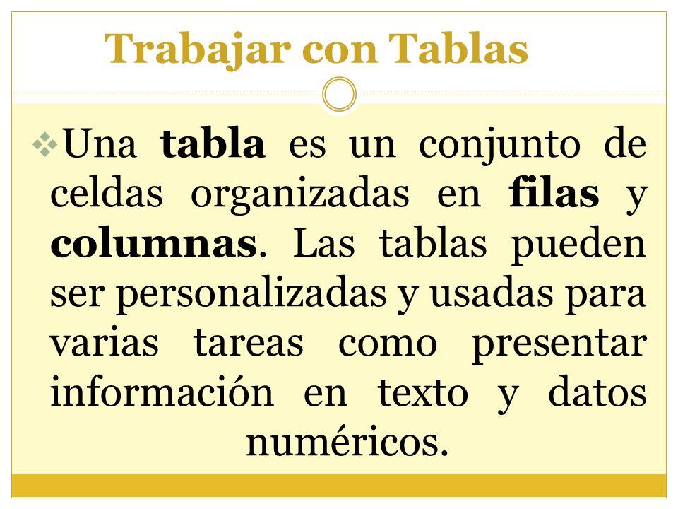 Trabajar con Tablas  Una tabla es un conjunto de celdas organizadas en filas y columnas. Las tablas pueden ser personalizadas y usadas para varias ta