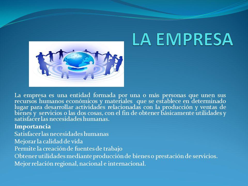 La empresa es una entidad formada por una o más personas que unen sus recursos humanos económicos y materiales que se establece en determinado lugar p