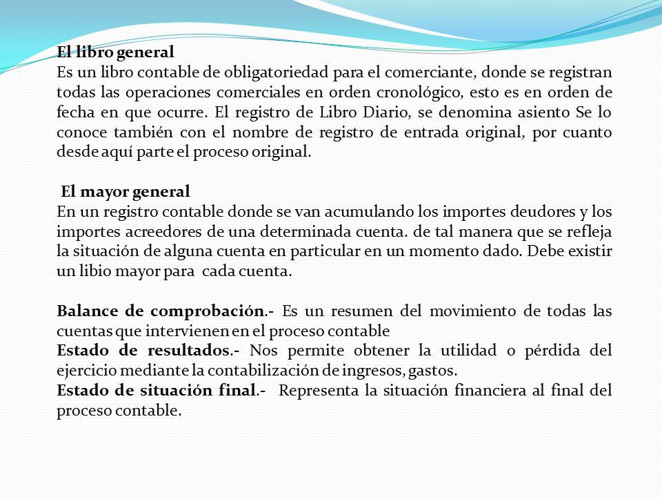 El libro general Es un libro contable de obligatoriedad para el comerciante, donde se registran todas las operaciones comerciales en orden cronológico, esto es en orden de fecha en que ocurre.