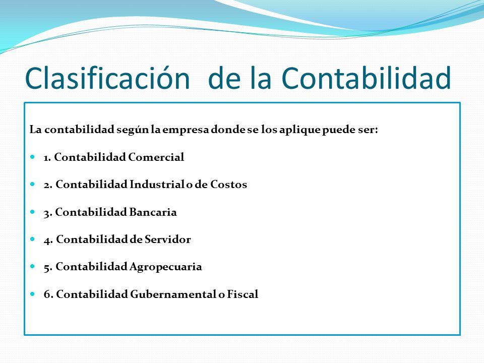Clasificación de la Contabilidad La contabilidad según la empresa donde se los aplique puede ser: 1. Contabilidad Comercial 2. Contabilidad Industrial