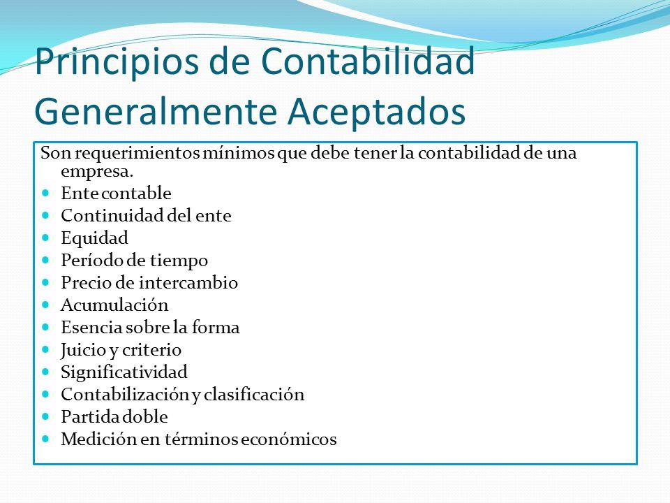 Principios de Contabilidad Generalmente Aceptados Son requerimientos mínimos que debe tener la contabilidad de una empresa. Ente contable Continuidad