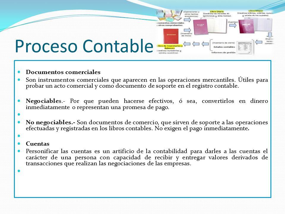 Proceso Contable Documentos comerciales Son instrumentos comerciales que aparecen en las operaciones mercantiles. Útiles para probar un acto comercial