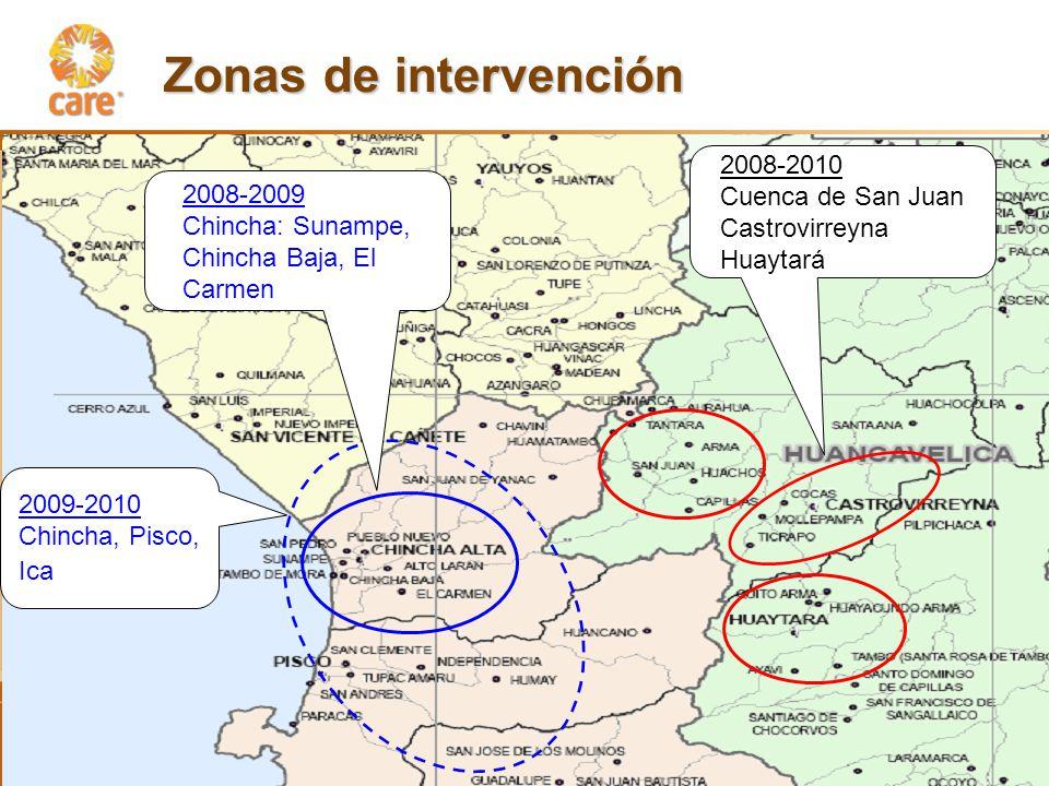 Zonas de intervención 2008-2010 Cuenca de San Juan Castrovirreyna Huaytará 2008-2009 Chincha: Sunampe, Chincha Baja, El Carmen 2009-2010 Chincha, Pisco, Ica