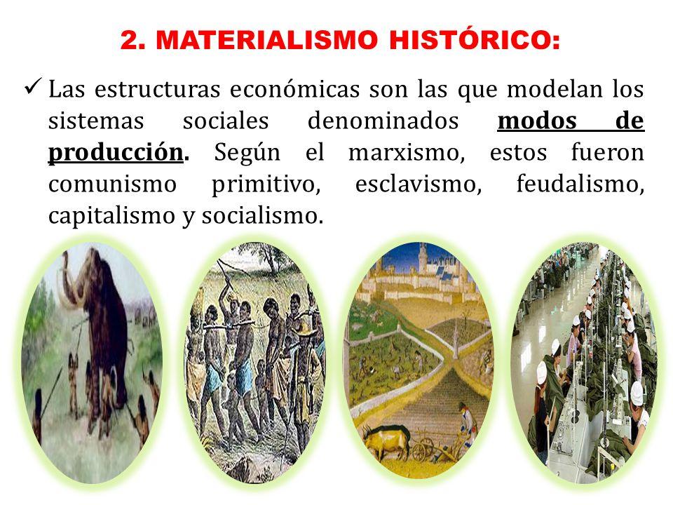 Las estructuras económicas son las que modelan los sistemas sociales denominados modos de producción.