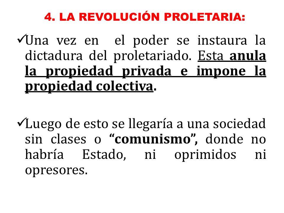 Una vez en el poder se instaura la dictadura del proletariado.