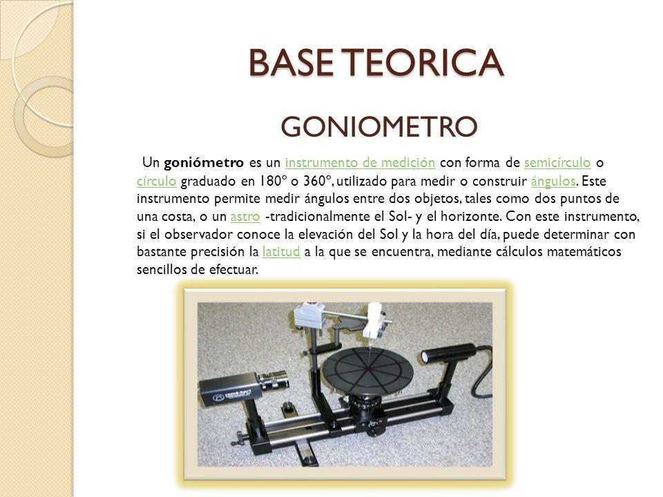 BASE TEORICA GONIOMETRO Un goniómetro es un instrumento de medición con forma de semicírculo o círculo graduado en 180º o 360º, utilizado para medir o construir ángulos.