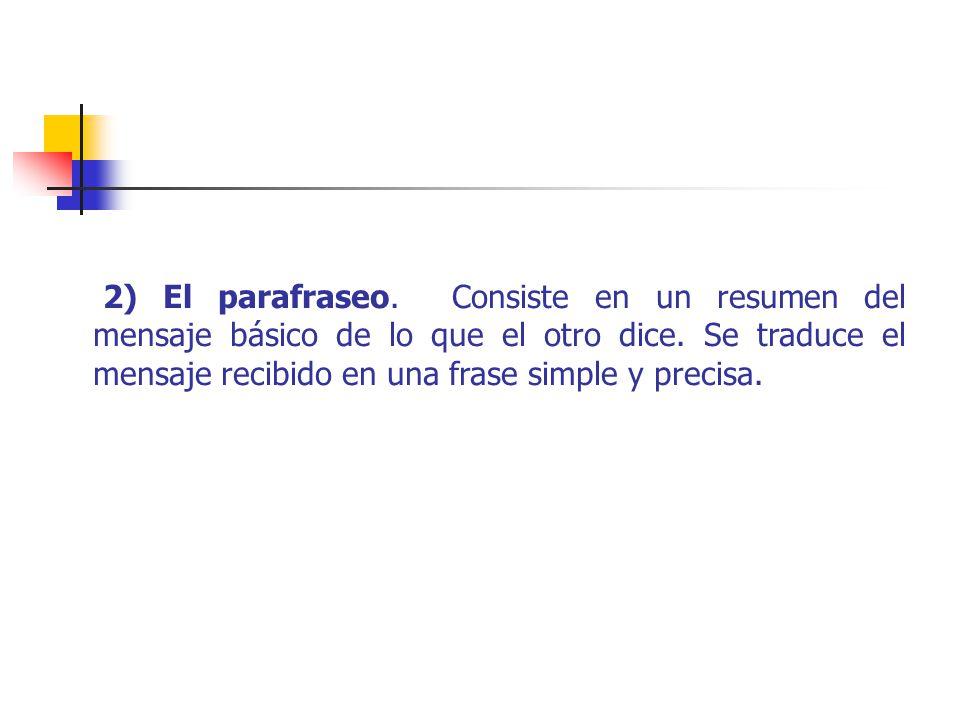 2) El parafraseo.Consiste en un resumen del mensaje básico de lo que el otro dice.