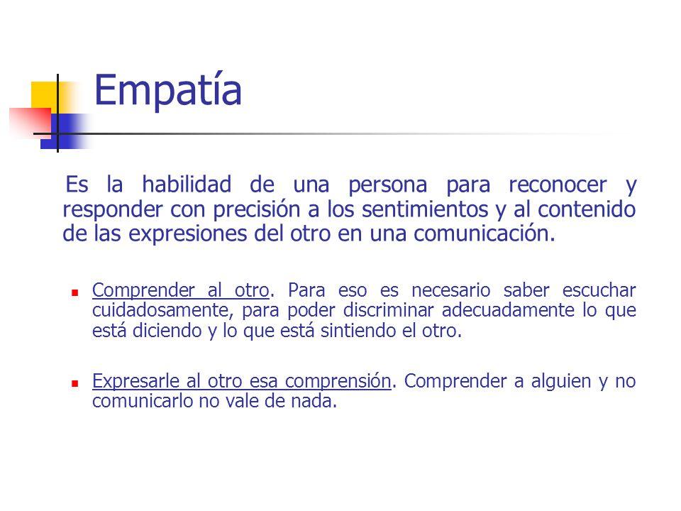 Es la habilidad de una persona para reconocer y responder con precisión a los sentimientos y al contenido de las expresiones del otro en una comunicación.