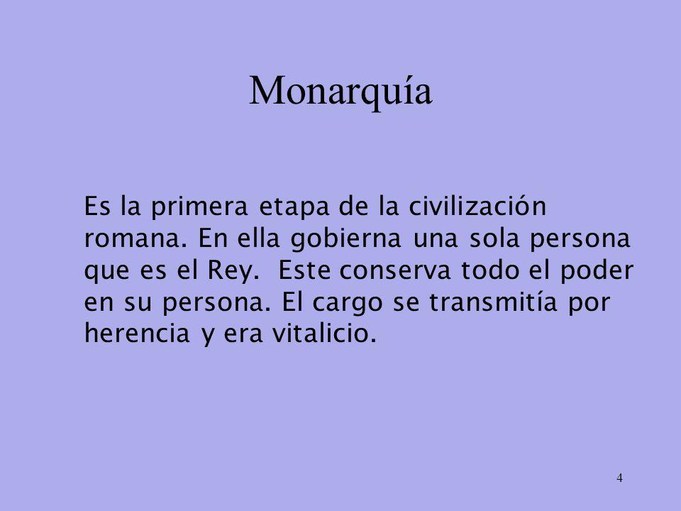 Monarquía Es la primera etapa de la civilización romana.
