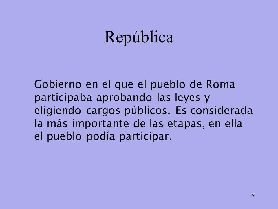 República Gobierno en el que el pueblo de Roma participaba aprobando las leyes y eligiendo cargos públicos.