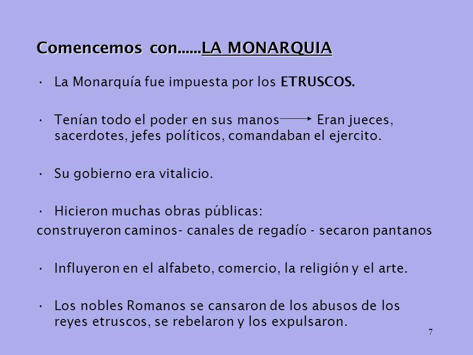 7 Comencemos con......LA MONARQUIA La Monarquía fue impuesta por los ETRUSCOS.