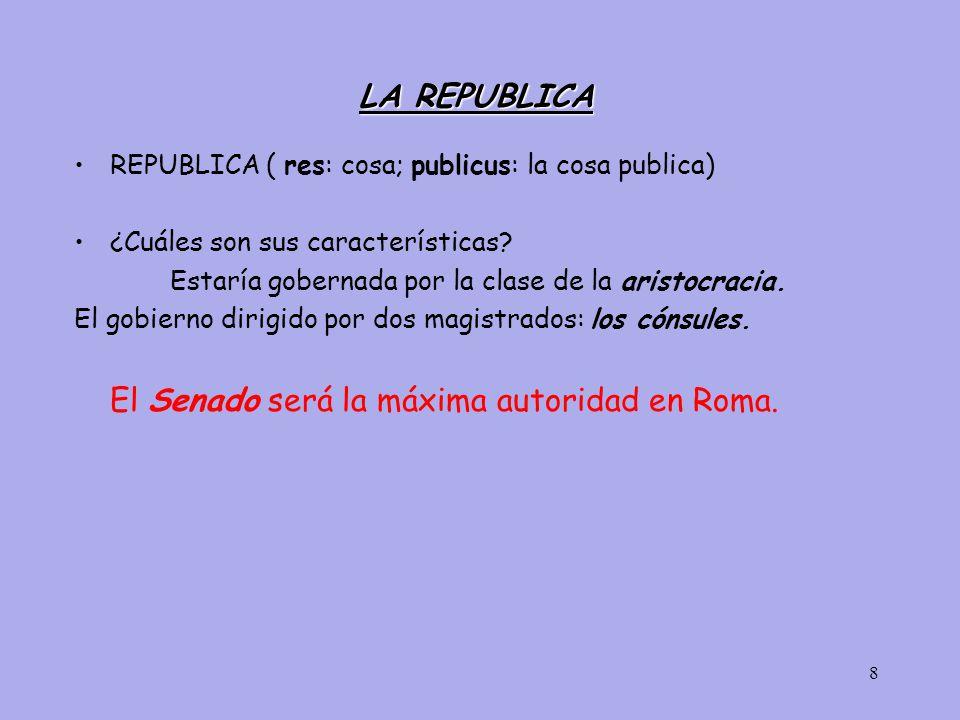 8 LA REPUBLICA REPUBLICA ( res: cosa; publicus: la cosa publica) ¿Cuáles son sus características.