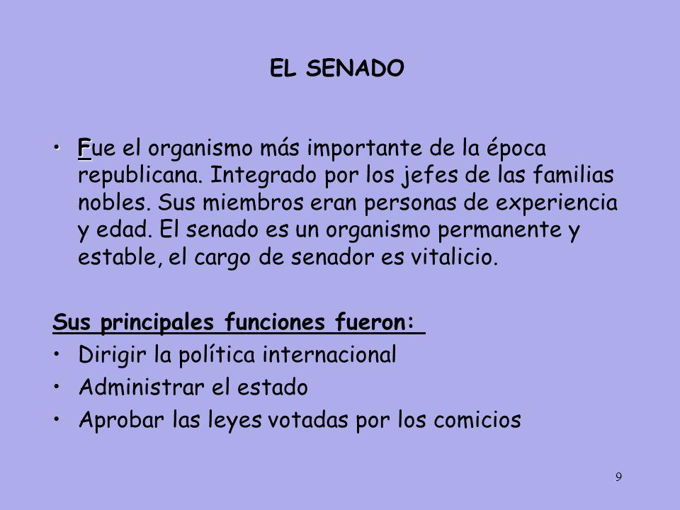 9 EL SENADO FFue el organismo más importante de la época republicana.
