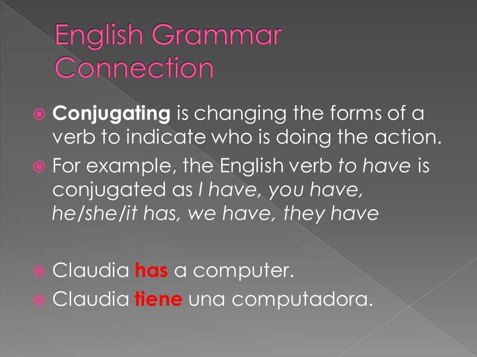  Conjugating is changing the forms of a verb to indicate who is doing the action.