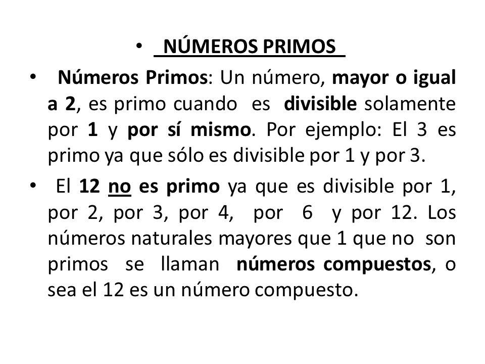 NÚMEROS COMPUESTOS Números compuestos: son números enteros positivos distintos de 1 que se puede descomponer por 1, por sí mismo y por otro factor.