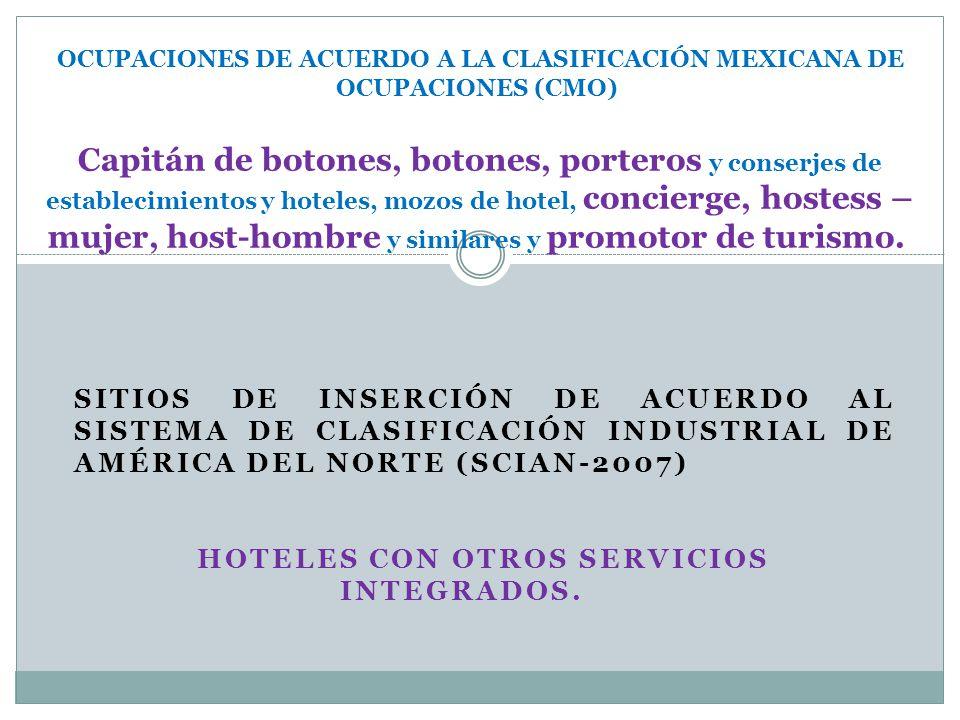 SITIOS DE INSERCIÓN DE ACUERDO AL SISTEMA DE CLASIFICACIÓN INDUSTRIAL DE AMÉRICA DEL NORTE (SCIAN-2007) HOTELES CON OTROS SERVICIOS INTEGRADOS. OCUPAC