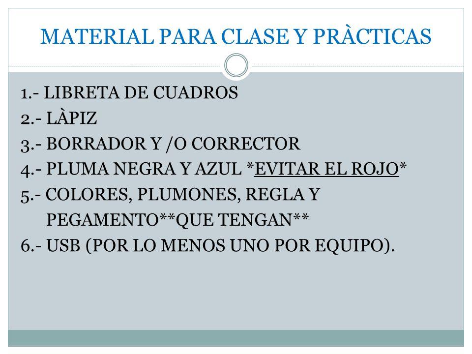 MATERIAL PARA CLASE Y PRÀCTICAS 1.- LIBRETA DE CUADROS 2.- LÀPIZ 3.- BORRADOR Y /O CORRECTOR 4.- PLUMA NEGRA Y AZUL *EVITAR EL ROJO* 5.- COLORES, PLUM