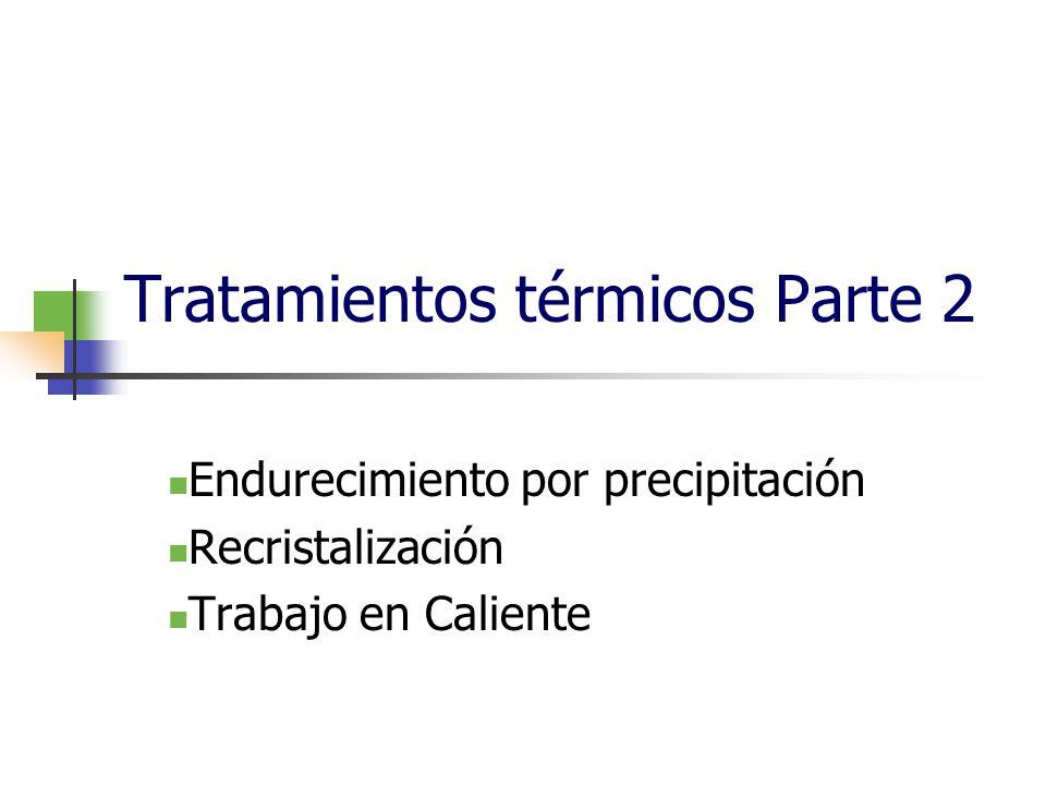 Tratamientos térmicos Parte 2 Endurecimiento por precipitación Recristalización Trabajo en Caliente