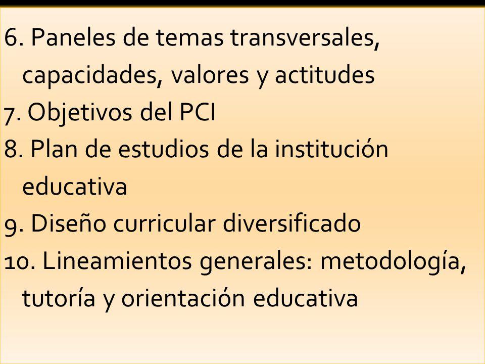 6.Paneles de temas transversales, capacidades, valores y actitudes 7.
