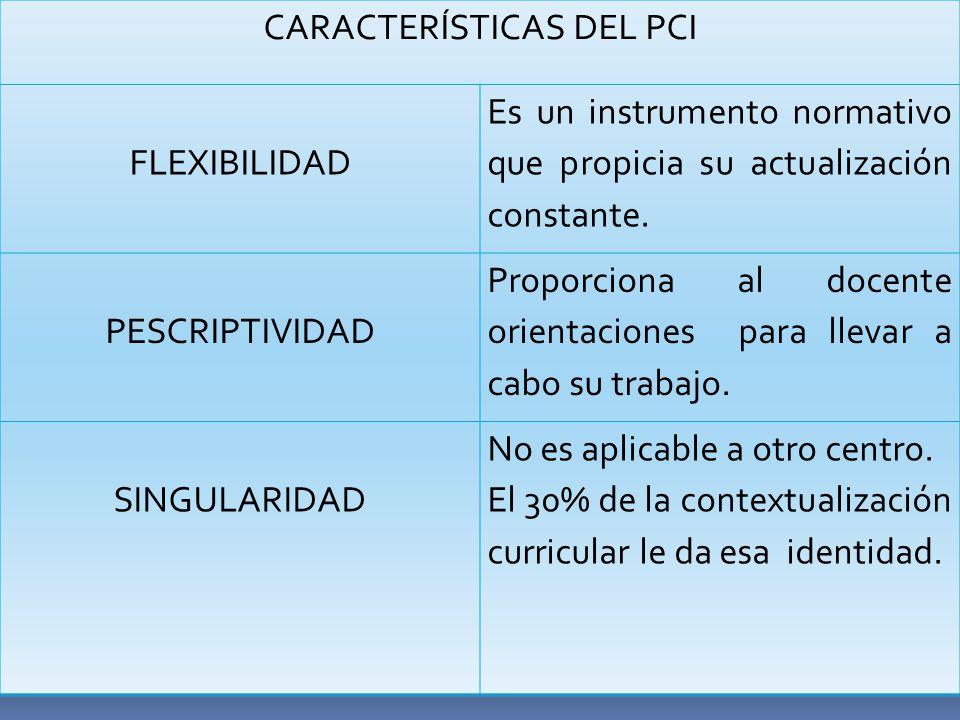 CARACTERÍSTICAS DEL PCI FLEXIBILIDAD Es un instrumento normativo que propicia su actualización constante.