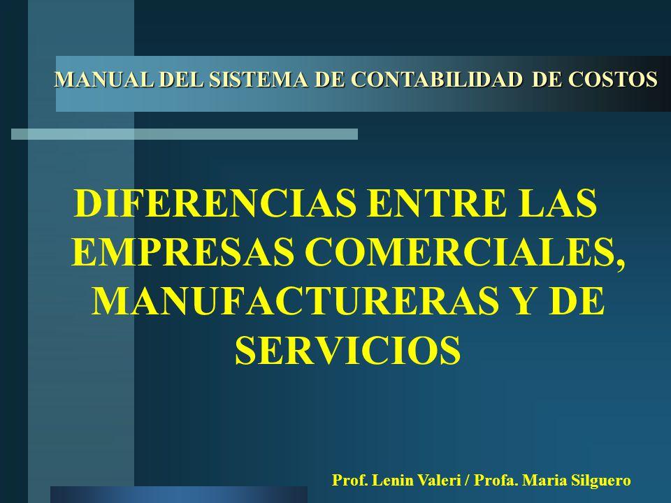 DIFERENCIAS ENTRE LAS EMPRESAS COMERCIALES, MANUFACTURERAS Y DE SERVICIOS MANUAL DEL SISTEMA DE CONTABILIDAD DE COSTOS Prof.