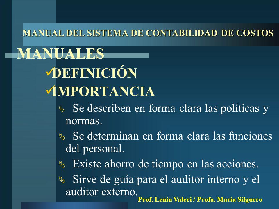 MANUALES DEFINICIÓN IMPORTANCIA  Se describen en forma clara las políticas y normas.