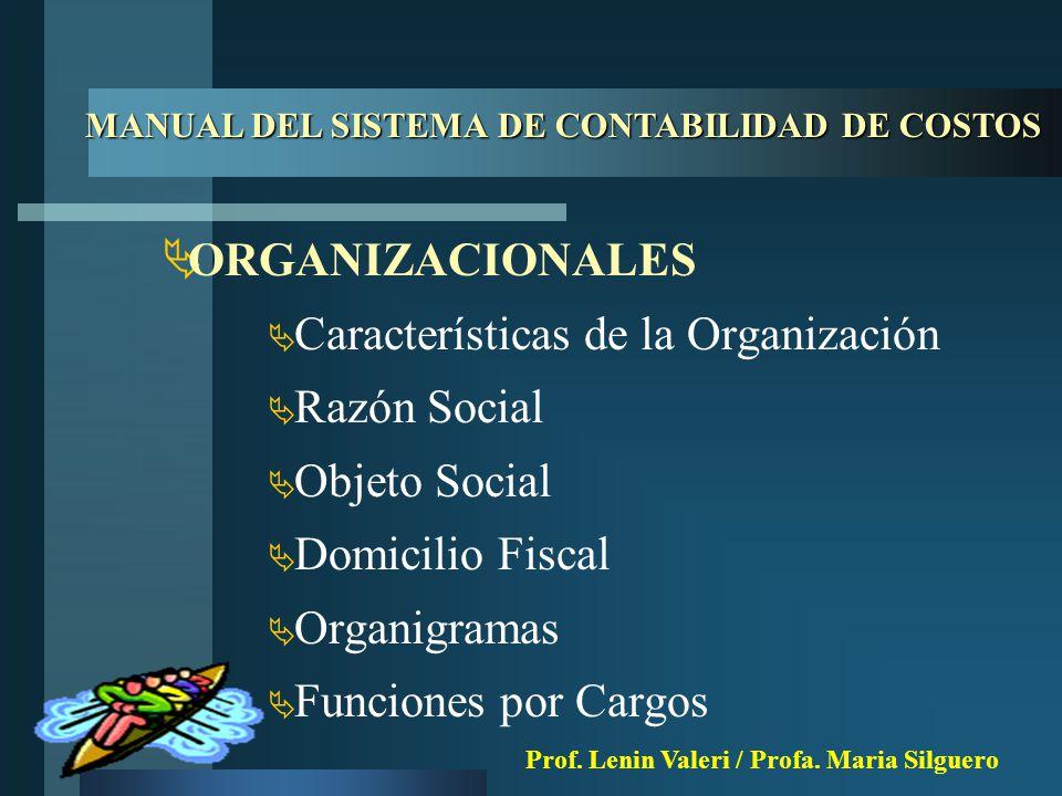 ORGANIZACIONALES  Características de la Organización  Razón Social  Objeto Social  Domicilio Fiscal  Organigramas  Funciones por Cargos MANUAL DEL SISTEMA DE CONTABILIDAD DE COSTOS Prof.