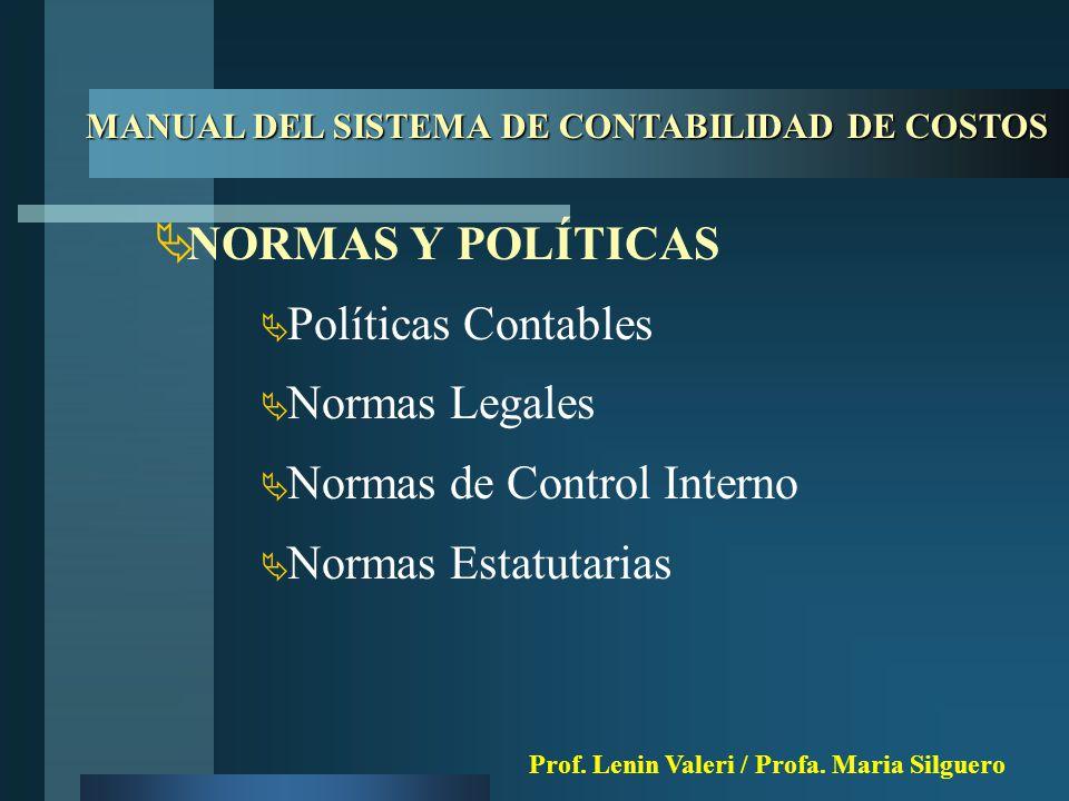  NORMAS Y POLÍTICAS  Políticas Contables  Normas Legales  Normas de Control Interno  Normas Estatutarias MANUAL DEL SISTEMA DE CONTABILIDAD DE COSTOS Prof.