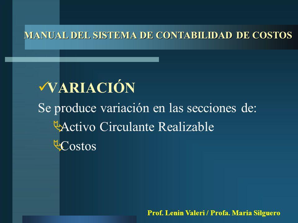VARIACIÓN Se produce variación en las secciones de:  Activo Circulante Realizable  Costos MANUAL DEL SISTEMA DE CONTABILIDAD DE COSTOS Prof.