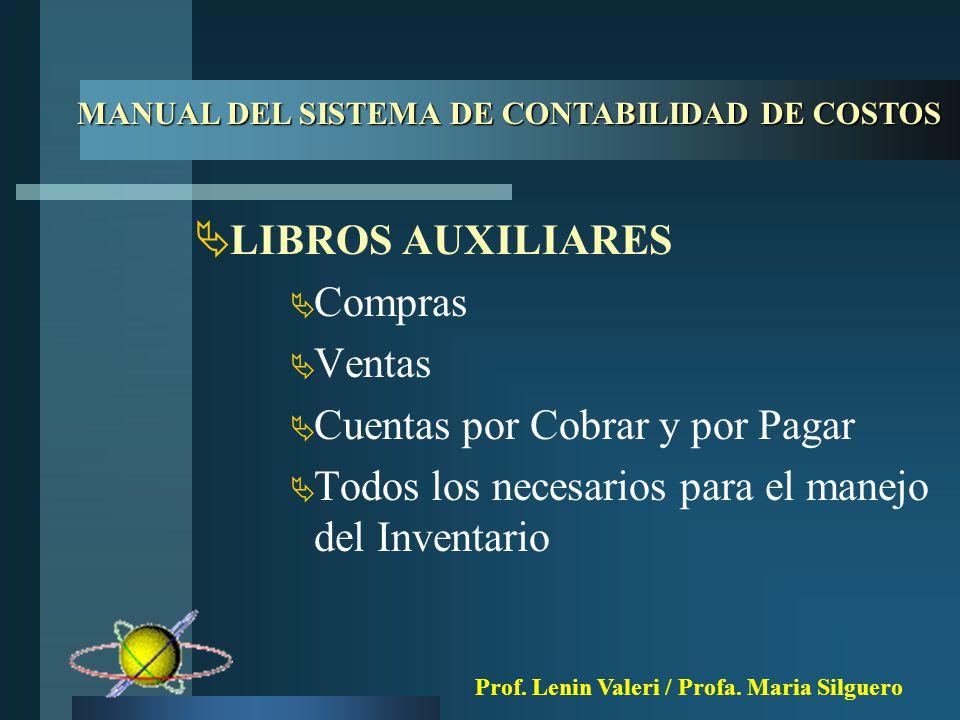  LIBROS AUXILIARES  Compras  Ventas  Cuentas por Cobrar y por Pagar  Todos los necesarios para el manejo del Inventario MANUAL DEL SISTEMA DE CONTABILIDAD DE COSTOS Prof.