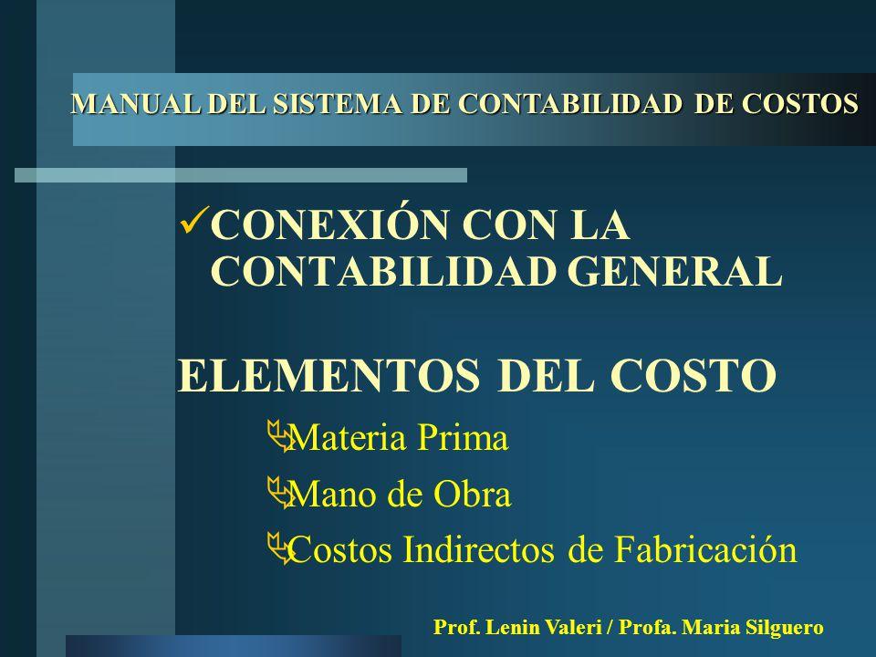 CONEXIÓN CON LA CONTABILIDAD GENERAL ELEMENTOS DEL COSTO  Materia Prima  Mano de Obra  Costos Indirectos de Fabricación MANUAL DEL SISTEMA DE CONTABILIDAD DE COSTOS Prof.
