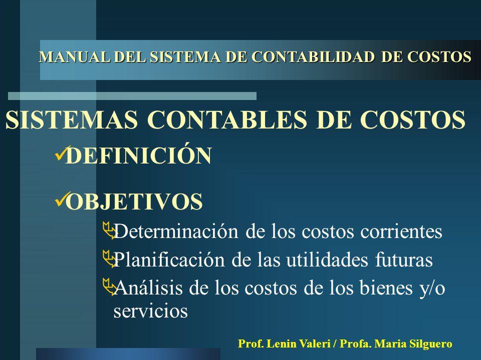 ELEMENTOS  Software de costos  Controles manuales y mecanizados  Procedimientos para su manejo MANUAL DEL SISTEMA DE CONTABILIDAD DE COSTOS Prof.