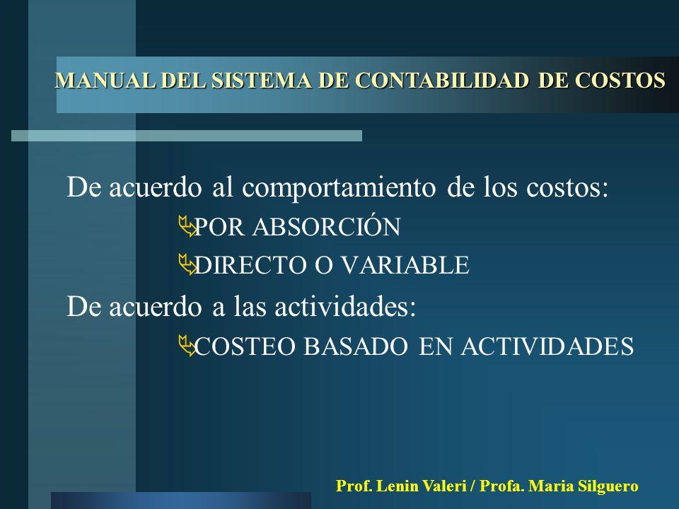 De acuerdo al comportamiento de los costos:  POR ABSORCIÓN  DIRECTO O VARIABLE De acuerdo a las actividades:  COSTEO BASADO EN ACTIVIDADES MANUAL DEL SISTEMA DE CONTABILIDAD DE COSTOS Prof.