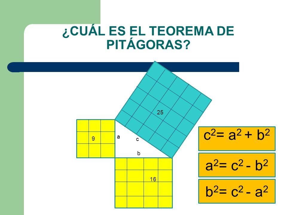 ¿CUÁL ES EL TEOREMA DE PITÁGORAS? a b c 9 16 25 c 2 = a 2 + b 2 a 2 = c 2 - b 2 b 2 = c 2 - a 2