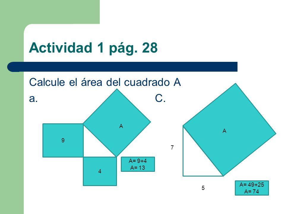 Actividad 1 pág. 28 Calcule el área del cuadrado A a. C. 9 4 A 7 5 A A= 9+4 A= 13 A= 49+25 A= 74