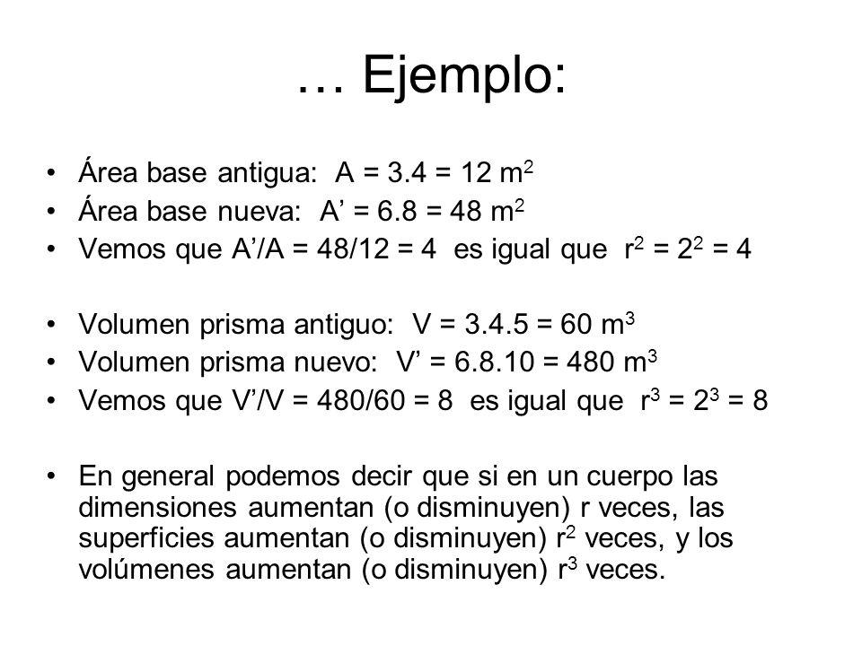 … Ejemplo: Área base antigua: A = 3.4 = 12 m 2 Área base nueva: A' = 6.8 = 48 m 2 Vemos que A'/A = 48/12 = 4 es igual que r 2 = 2 2 = 4 Volumen prisma antiguo: V = 3.4.5 = 60 m 3 Volumen prisma nuevo: V' = 6.8.10 = 480 m 3 Vemos que V'/V = 480/60 = 8 es igual que r 3 = 2 3 = 8 En general podemos decir que si en un cuerpo las dimensiones aumentan (o disminuyen) r veces, las superficies aumentan (o disminuyen) r 2 veces, y los volúmenes aumentan (o disminuyen) r 3 veces.