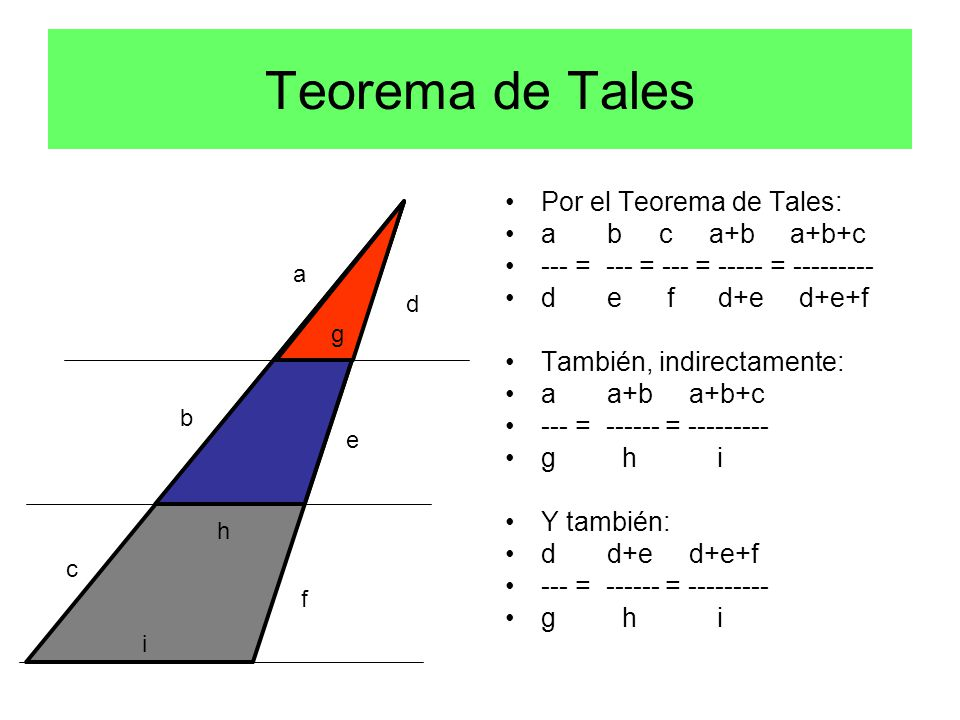 Por el Teorema de Tales: a b c a+b a+b+c --- = --- = --- = ----- = --------- d e f d+e d+e+f También, indirectamente: a a+b a+b+c --- = ------ = --------- g h i Y también: d d+e d+e+f --- = ------ = --------- g h i a b c d e f g h i