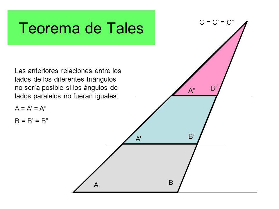 A A' A B B' B C = C' = C Las anteriores relaciones entre los lados de los diferentes triángulos no sería posible si los ángulos de lados paralelos no fueran iguales: A = A' = A B = B' = B